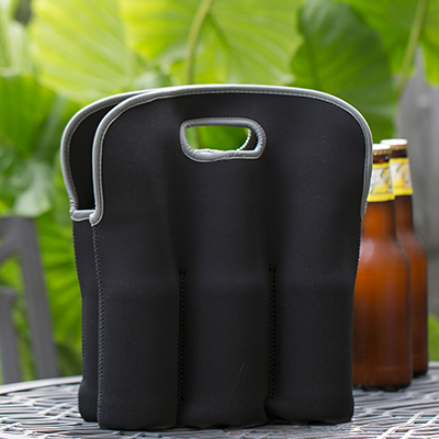 TOPPERS™ Six Beer Bottle Neoprene Tote - Keep your favorite brew insulated on-the-go with this convenient neoprene tote. Holds six 12 -20oz bottles or cans. Features soft grip handles, expandable pockets and is machine washable.  Tote measures 13