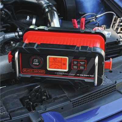 BLACK & DECKER<sup>&reg;</sup> Automatic Battery Charger - Start and maintain WET, AGM and GEL automotive or marine 12 volt batteries with this battery charger.  Patented 75 amp engine start jumps most vehicle engines in 90 seconds. Easy-to-use control panel lets you pick your function:  engine start, alternator check, battery voltage or battery conditioning.  Includes onboard power cord storage, onboard clamp tab and battery.