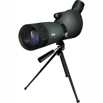 VIVITAR<sup>&reg;</sup> Spotting Scope - Features 20x-60x magnification, a 45 degree angle for optimum comfort and visibility and linear field of view of 51' - 114' at 1000 yards. Casing is rubber-coated for durability and ruggedness, as is the eyepiece. Delivers clarity, contrast and field view performance in both high and low light conditions.